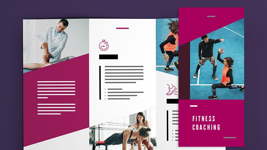 "The cover and interior layout of a brochure titled ""Fitness Coaching"""