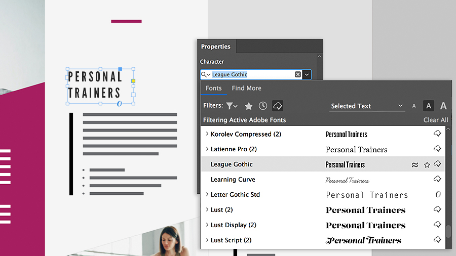 Selecting a headline font using the character section of the Properties panel