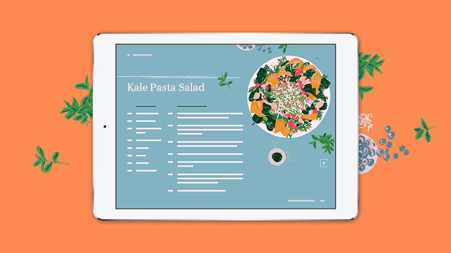 "A tablet showing a page from a digital recipe book titled ""Kale Pasta Salad"""