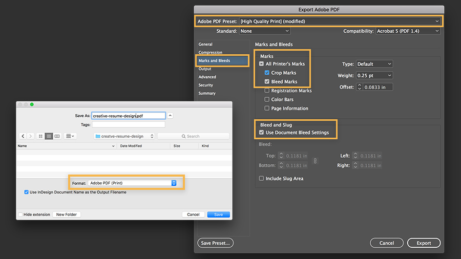 Save As dialog box showing Save as Adobe PDF options for high-quality print