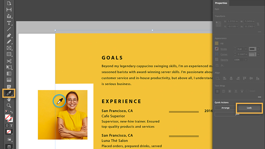 Color picker being used to select a yellow from the headshot photo to use as background color of resume