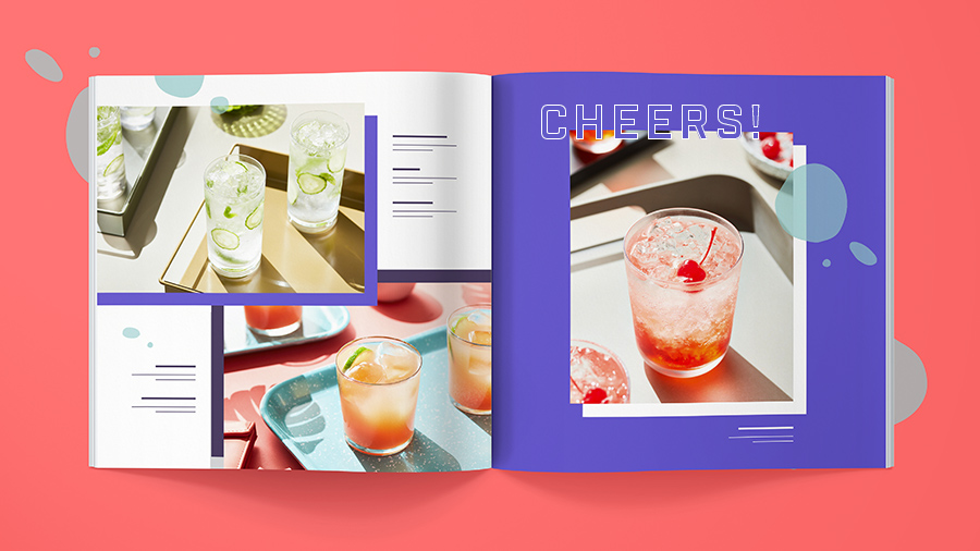 A colorful glassware catalog opened to show a spread design