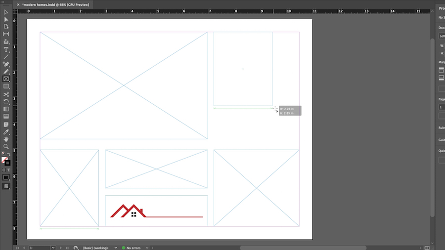 InDesign workspace with frames drawn to form a catalog page layout