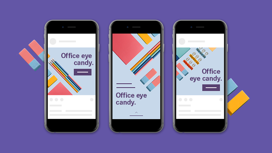 Three versions of an advertisement for office supplies displayed on three phone screens