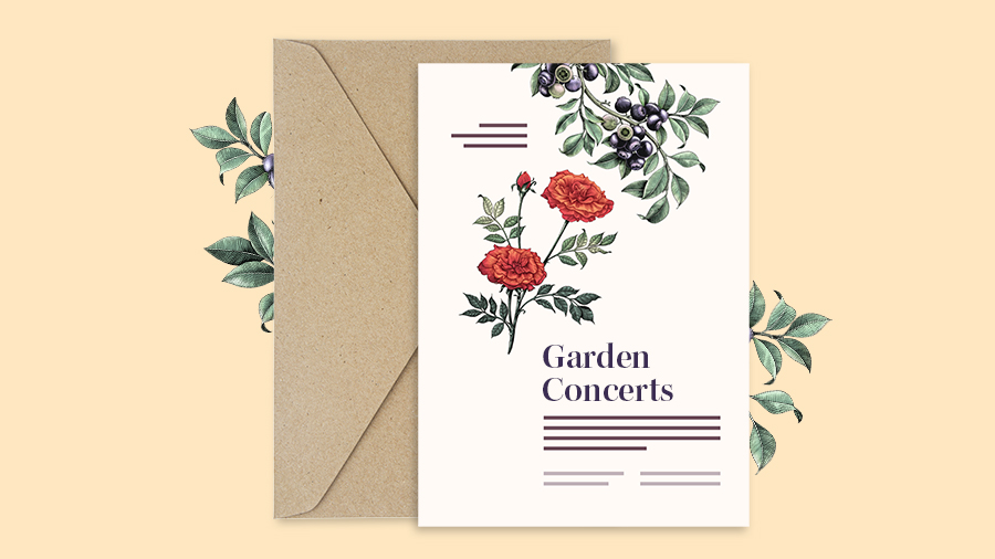 "Example of a print invitation with the title ""Garden Concerts"" and botanical graphics"