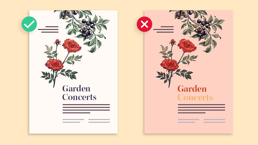 Side-by-side examples of good and bad use of color in layout