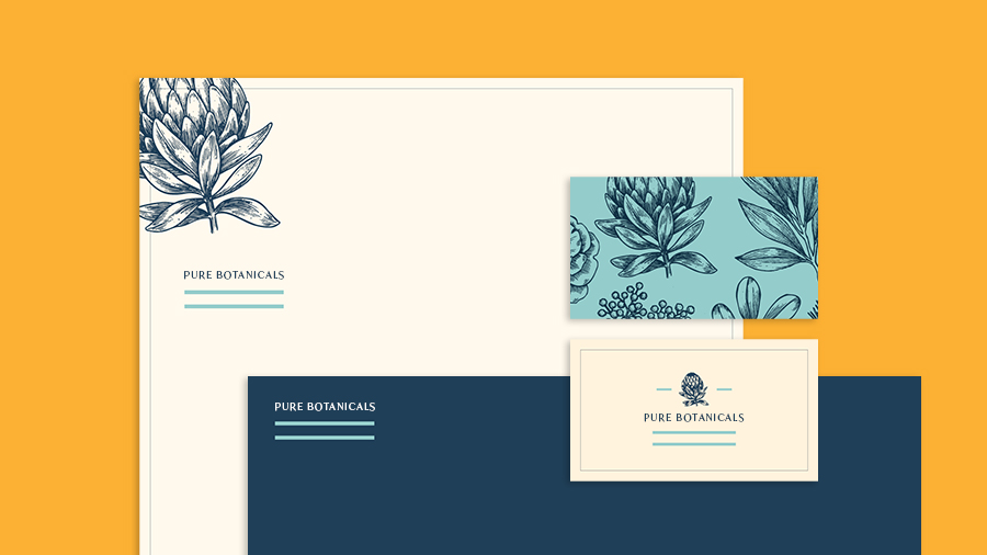 Stationery set for the brand Pure Botanicals, with business cards, letterhead, and envelope