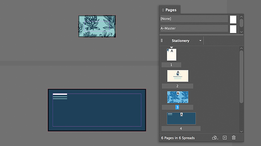 Using the Pages panel to set up multiple page sizes within one document