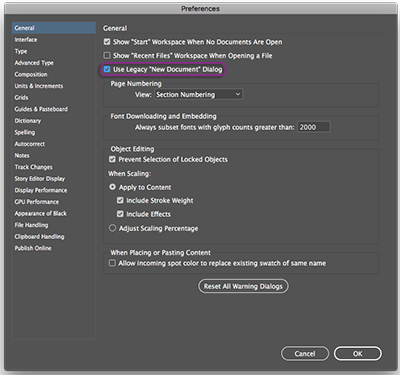 Use legacy new document dialog