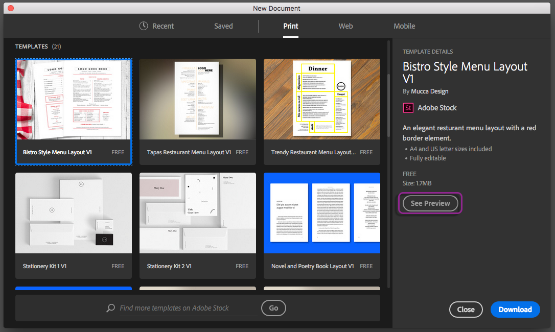 create documents from a wide variety of templates and presets