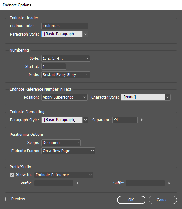 Endnote options
