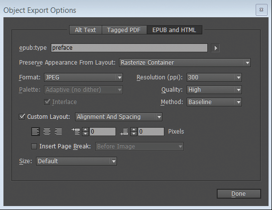 Object Export Options