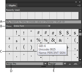 Use the Glyphs panel to insert glyphs and special characters