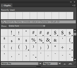 Search for glyphs in the Glyphs panel