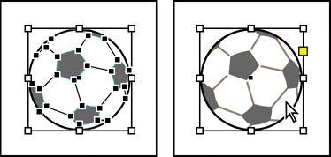 Soccer ball in Illustrator (left) and in InDesign (right)