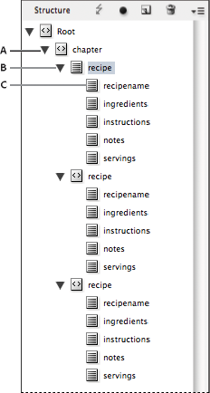 Structure pane showing structure of placeholder text