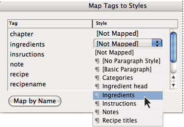 Map Tags To Styles dialog box