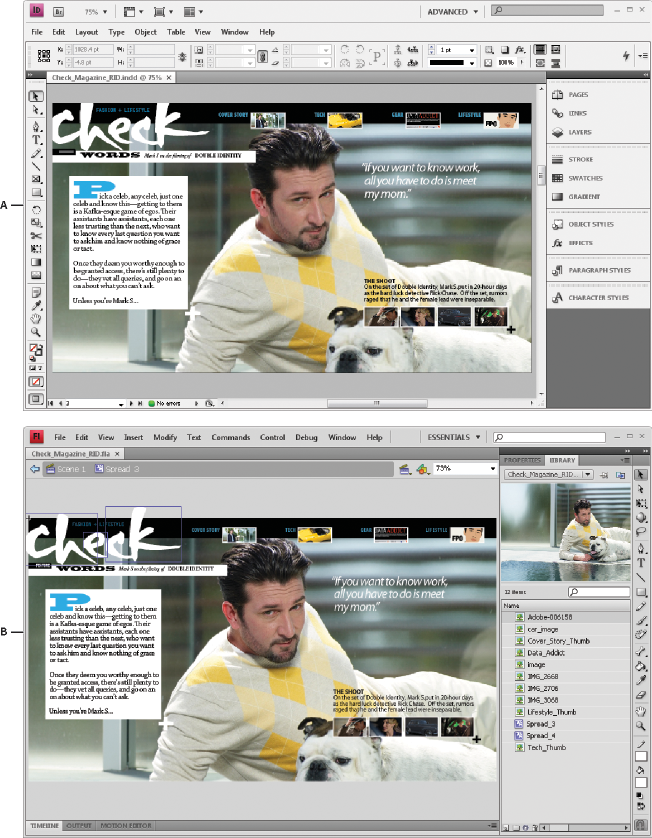 Create interactive web documents for Flash in InDesign
