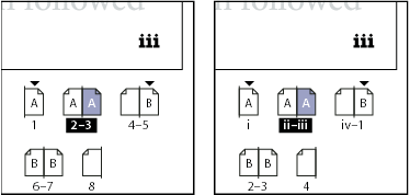 Pages panel showing absolute numbering (left) and section numbering (right)