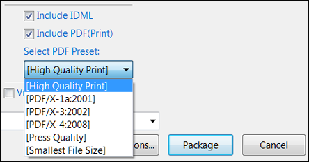 Select IDML options