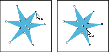 A path with a single point selected (left) and multiple points selected (right)