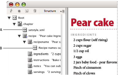 InDesign Structure pane with text snippets showing