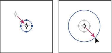 Reference point moved to center (left), and object scaled (right)