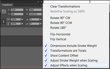 Transform objects in InDesign