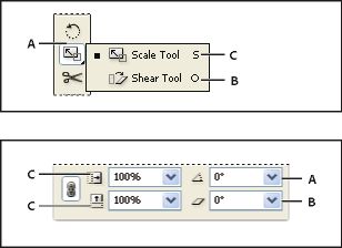 Transformation tools (top) compared to Transform panel (bottom)