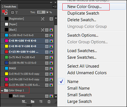 Create and manage color swatches