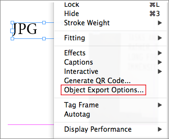 Object export option available in context menu