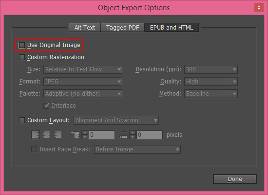 Use original image option in Object export