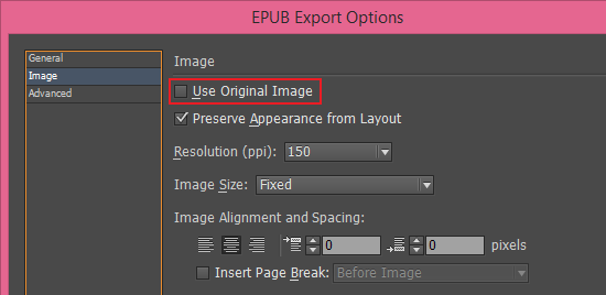 Use original image option in EPUB export