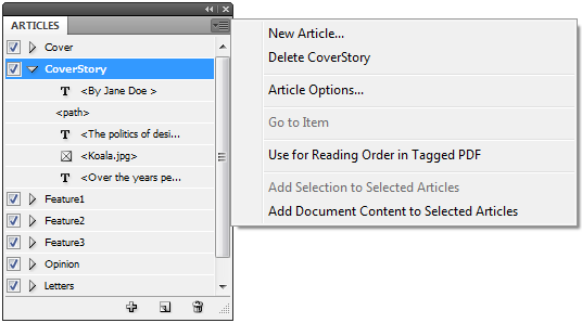 Articles panel with the options pullout menu