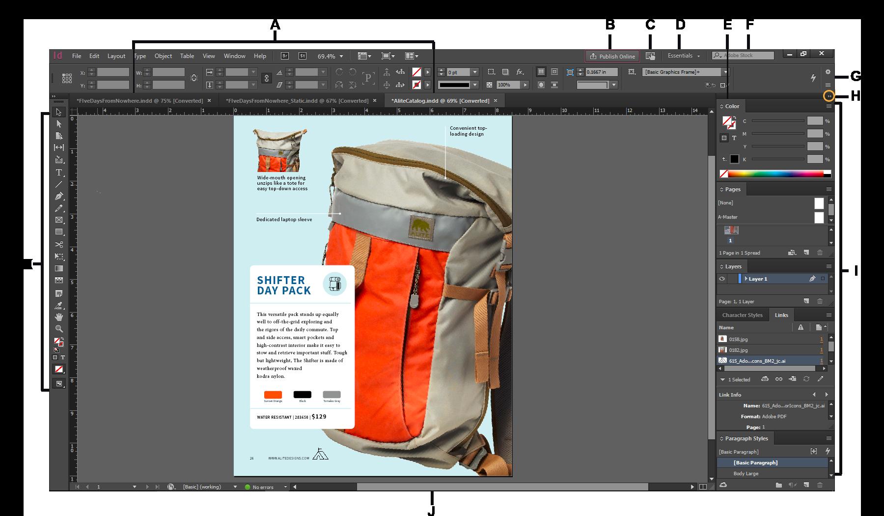 Conceptos básicos del espacio de trabajo en InDesign