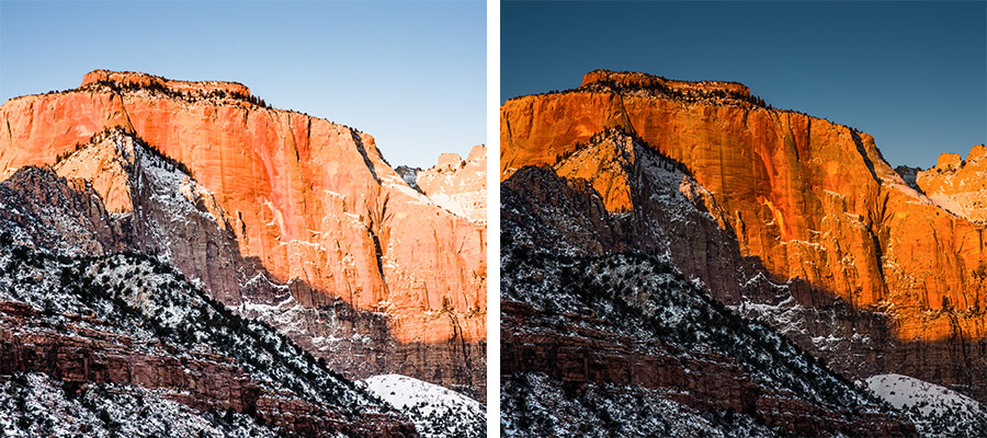 Side by side images of a red mountain with snow under a blue sky, the colors on the right side are much more vibrant