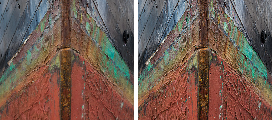 Side by side photos of part of a ship covered with rust and moss, the Texture value for the image on the right has been increased to bring out details