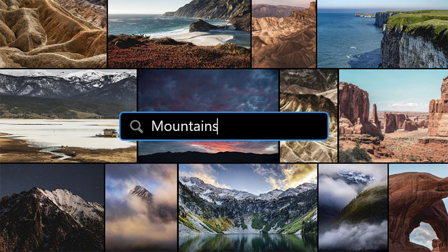 "An assortment of mountain photos with a search bar over them with the word ""Mountains"""