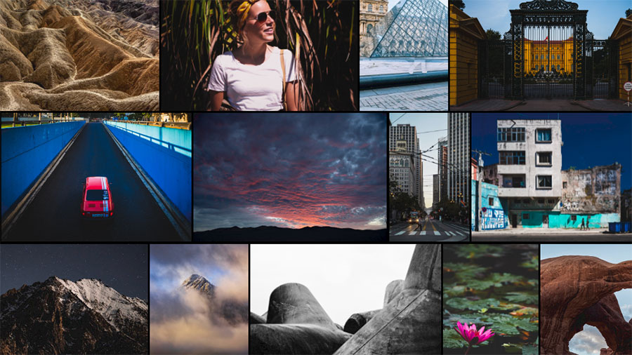 A grid of various travel photos