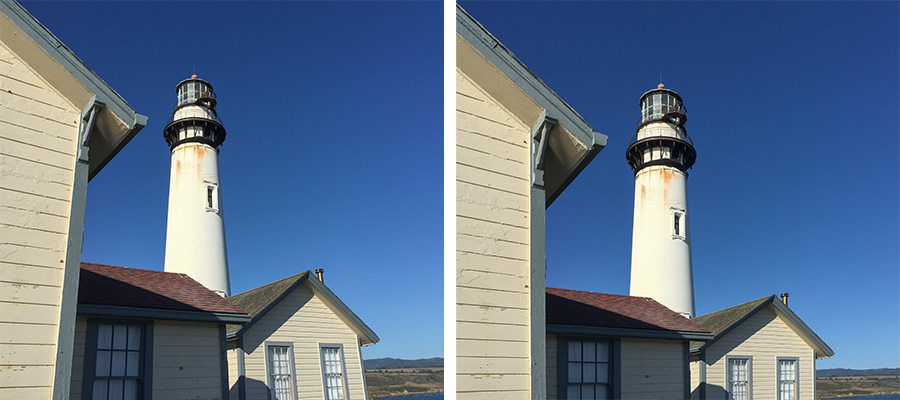 Side by side images of a lighthouse and buildings with one side cropped and straightened