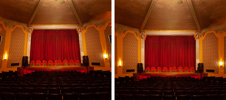 Side by side images of a theater interior with one side cropped and straightened