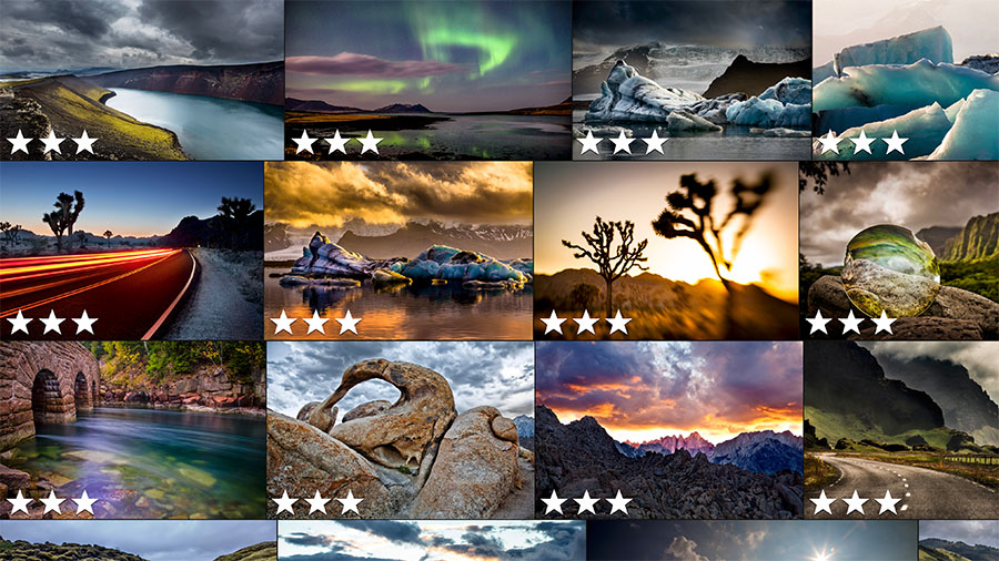 Photo collage showing star ratings of multiple images