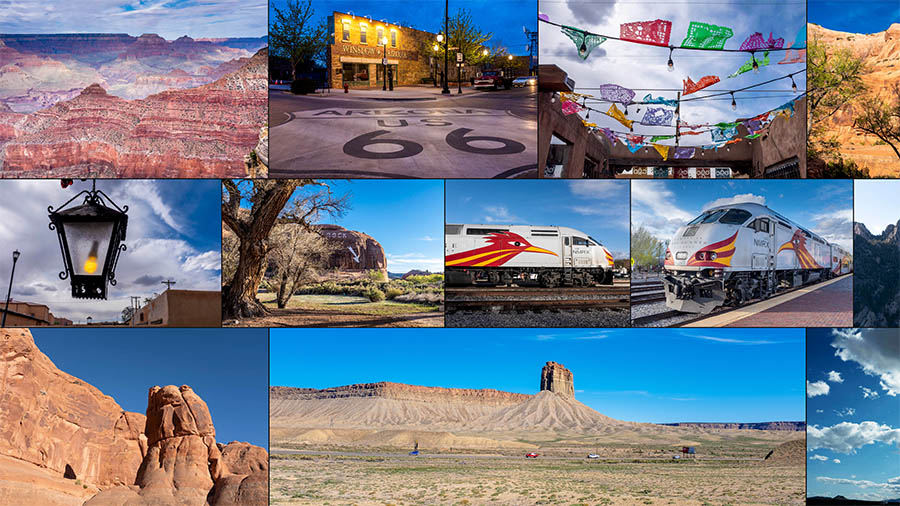 Photo collage with scenes of the American southwest