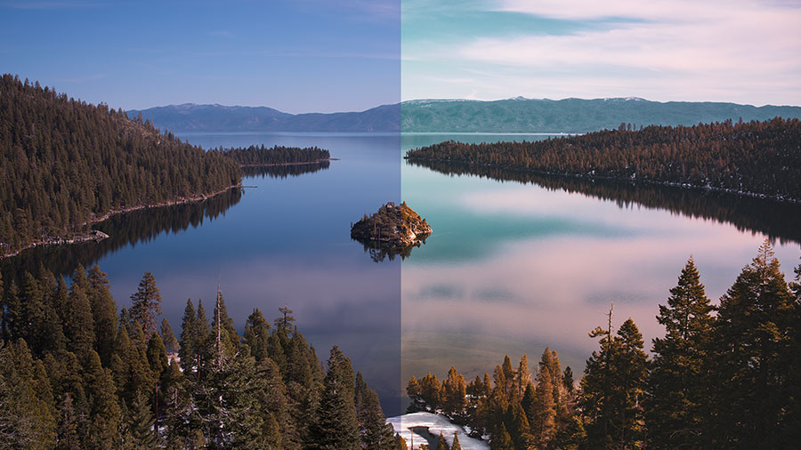 Photo of a lake in the mountains with different color balance on the left and right side