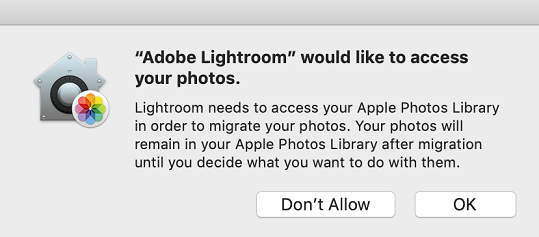 Adobe Lightroom would like to access your photos