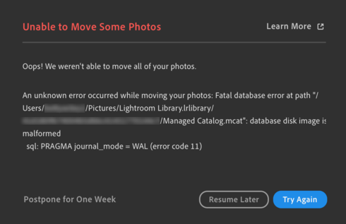 Unable to move some photos