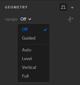 Upright modes in the Geometry panel.