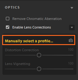 Manually select a lens profile