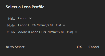 Select a Lens Profile dialog