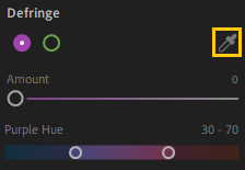 Use the Defringe Selector tool to remove purple or green fringe colors.